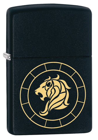Front shot of Leo Zodiac Sign Design Black Matte Windproof Lighter standing at a 3/4 angle
