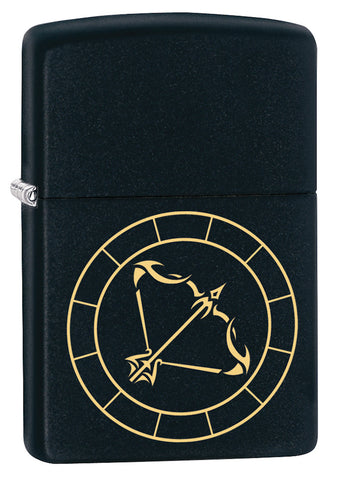 Front shot of Sagittarius Zodiac Sign Design Black Matte Windproof Lighter standing at a 3/4 angle