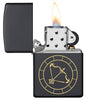 Sagittarius Zodiac Sign Design Black Matte Windproof Lighter with its lid open and lit