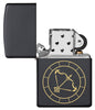 Sagittarius Zodiac Sign Design Black Matte Windproof Lighter with its lid open and unlit
