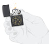 Sagittarius Zodiac Sign Design Black Matte Windproof Lighter lit in hand
