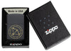 Sagittarius Zodiac Sign Design Black Matte Windproof Lighter in its packaging