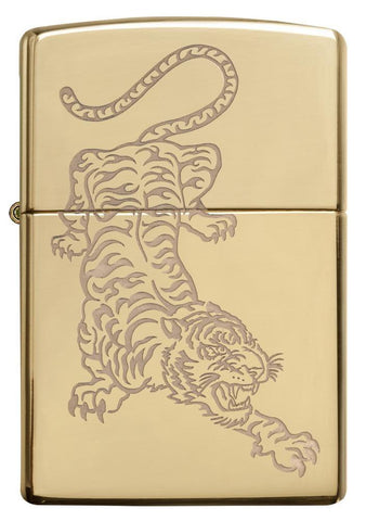 Front View, High Polish Brass Tiger Design, Lustre Engraved Tiger