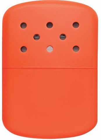 Back of 12-Hour Blaze Orange Refillable Hand Warmer