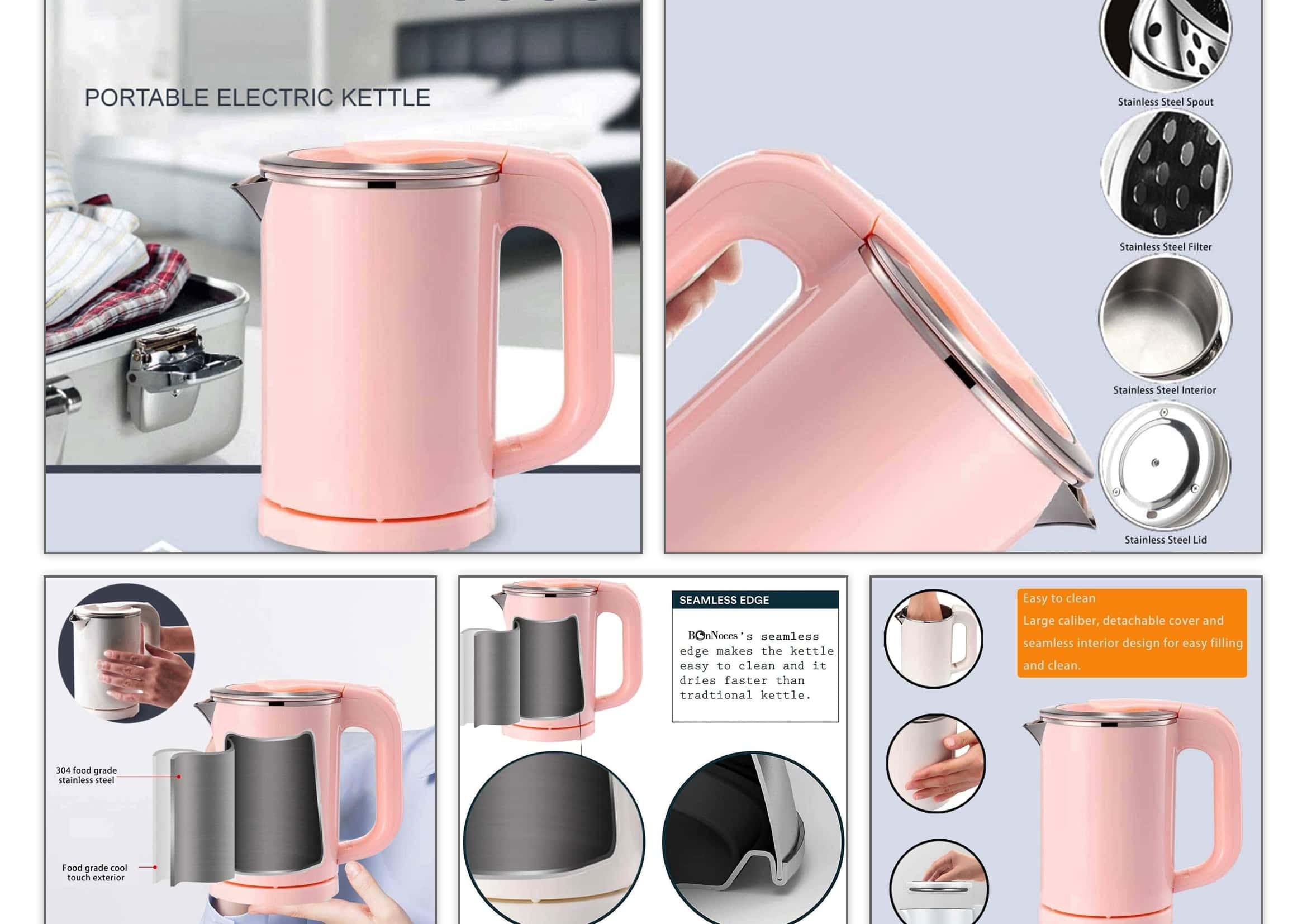 electric kettle,0.5l,for travel,pink