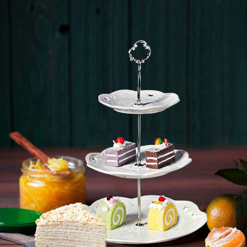 3 tier cake stand,Embossed,White - BonNoces