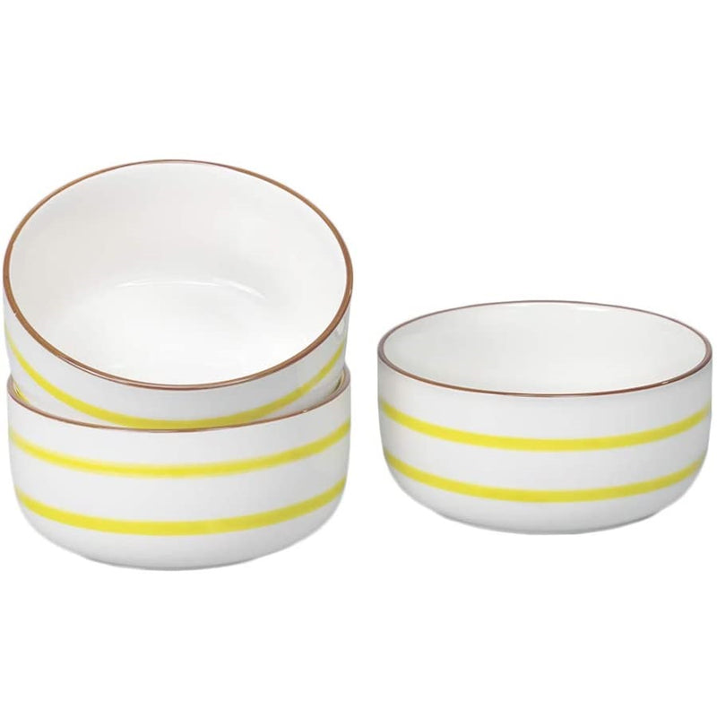 28 Oz Porcelain Bowl Set, Cereal Bowl with Unique Striped Decorative Line for Soup, Pasta, Oatmeal, Salad, and Rice, Set of 3 (Yellow)