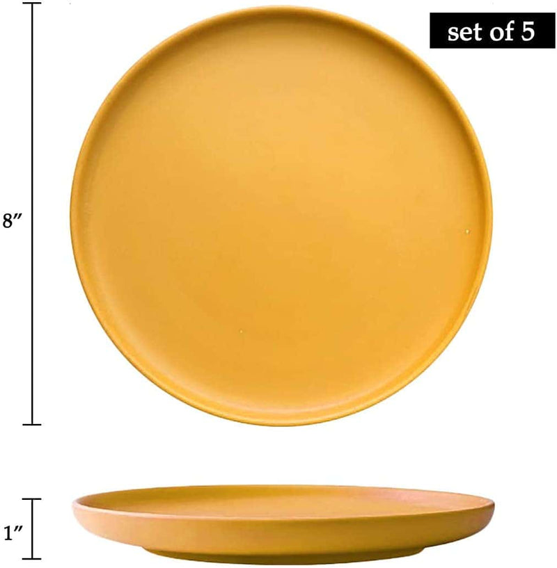 8inch ceramic plates set of 5,yellow - BonNoces