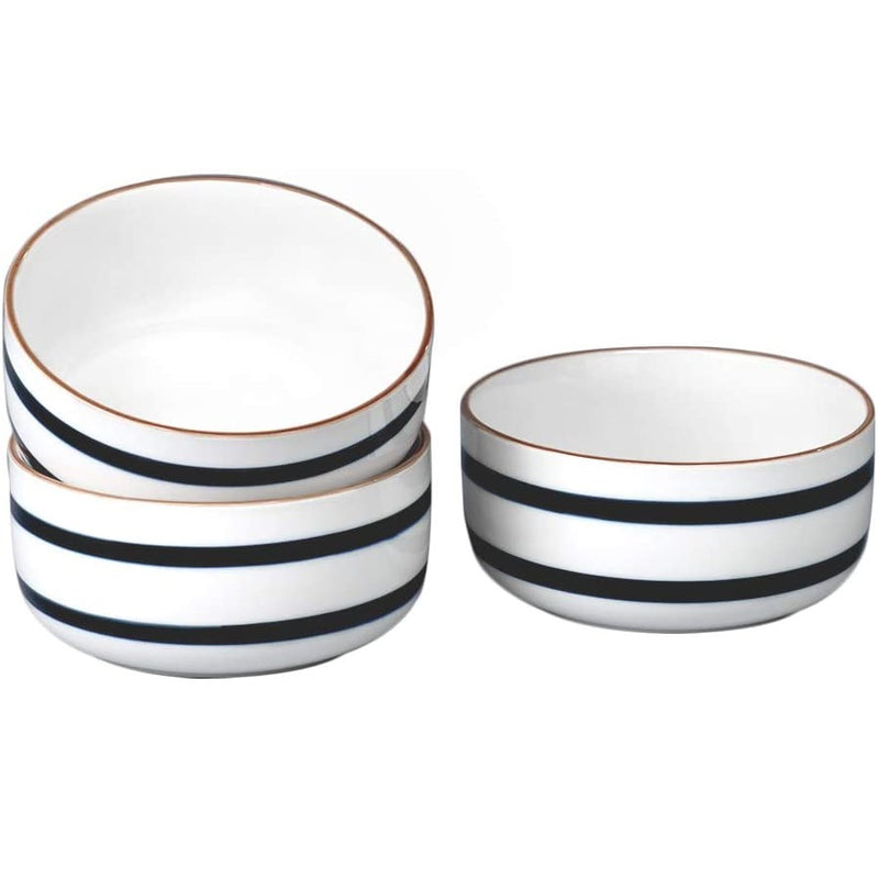 28 Oz Porcelain Bowl Set, Cereal Bowl with Unique Striped Decorative Line for Soup, Pasta, Oatmeal and Salad, Set of 3 (Blue)