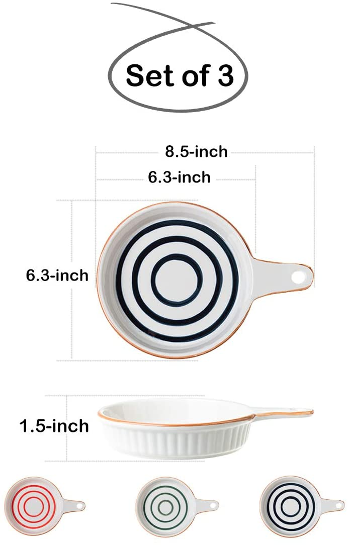 6.3-in Porcelain Circle Stripes Pie Plate with Handle, Set of 3