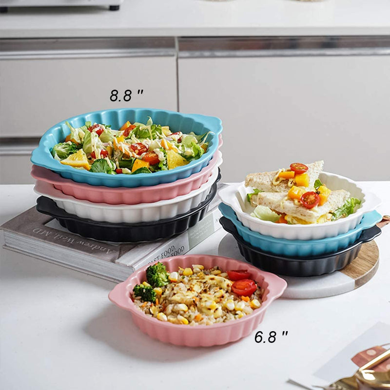 6.8 Inch Matte Ceramic Pie Pans, Set of 4
