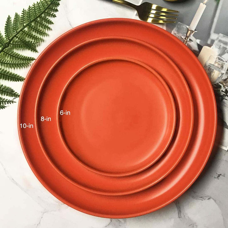 8inch ceramic plates set of 5,Orange - BonNoces