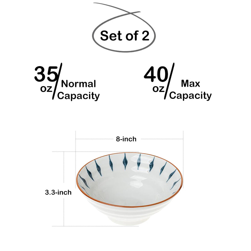 40 Ounces Porcelain Ramen Bowls, Large Pasta Bowl Set, Set of 2