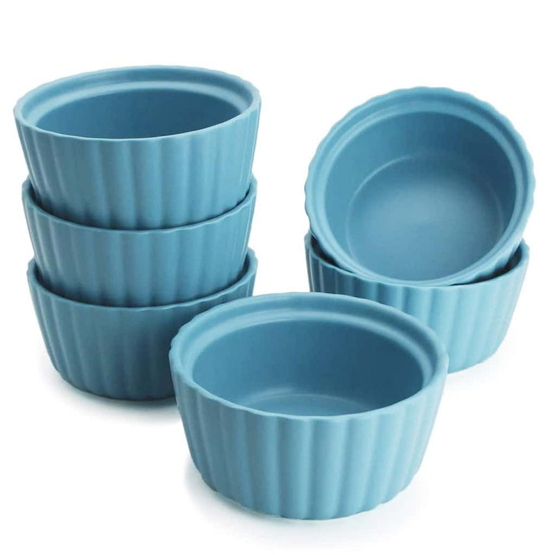 4.7oz ceramic ramekins set of 6,Blue - BonNoces