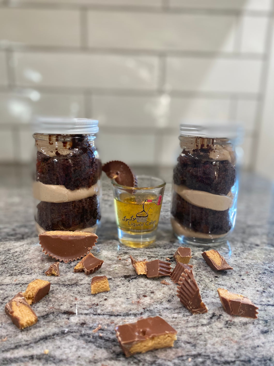 Chocolate Peanut Butter Liquor Cake Jar