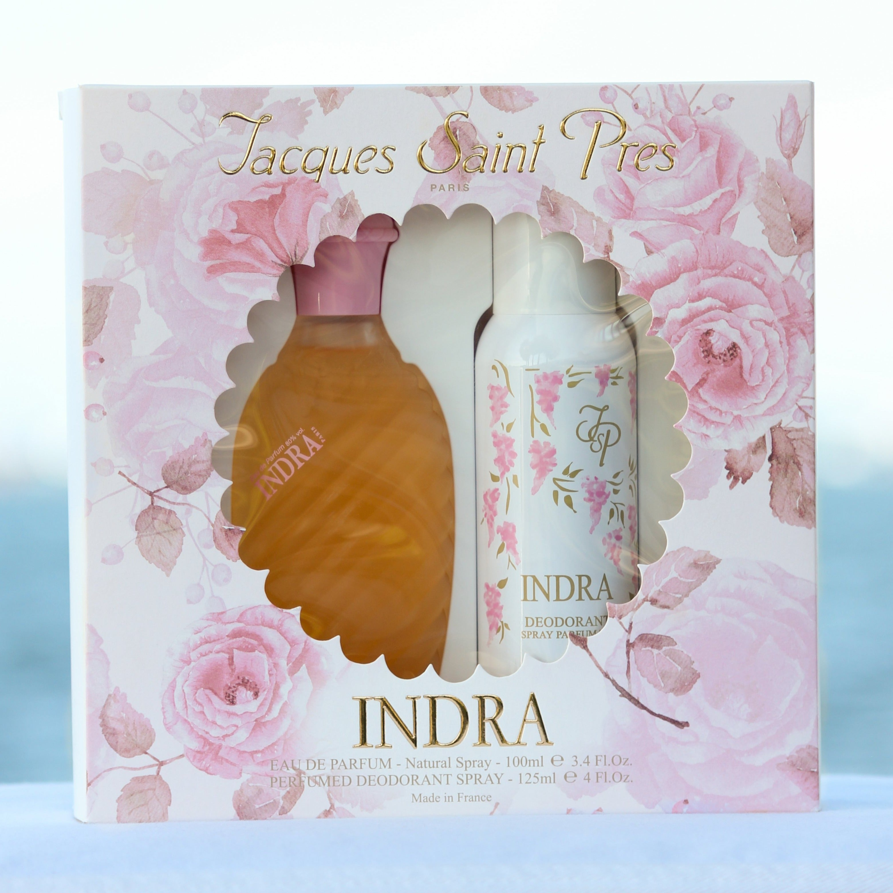 Jacques Saint Pres Indra Gift Set women's perfume 3.4 EDP and deodorant spray 4 oz in front of beach