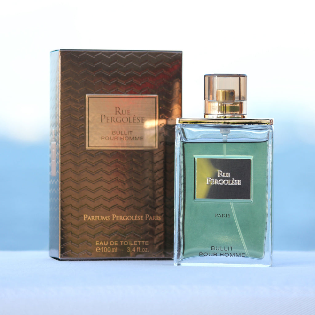 Rue Pergolese Bullit men's inexpensive perfume in front of beach