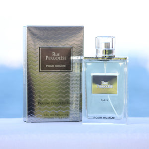 Rue Pergolese Pour Homme men's perfume 3.4 EDT in front of beach