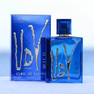 Ulric De Varens UDV Wild men's perfume 3.4 EDT in front of beach