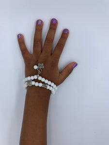 Girl Dainty White Stone Butterfly Beaded Bracelets