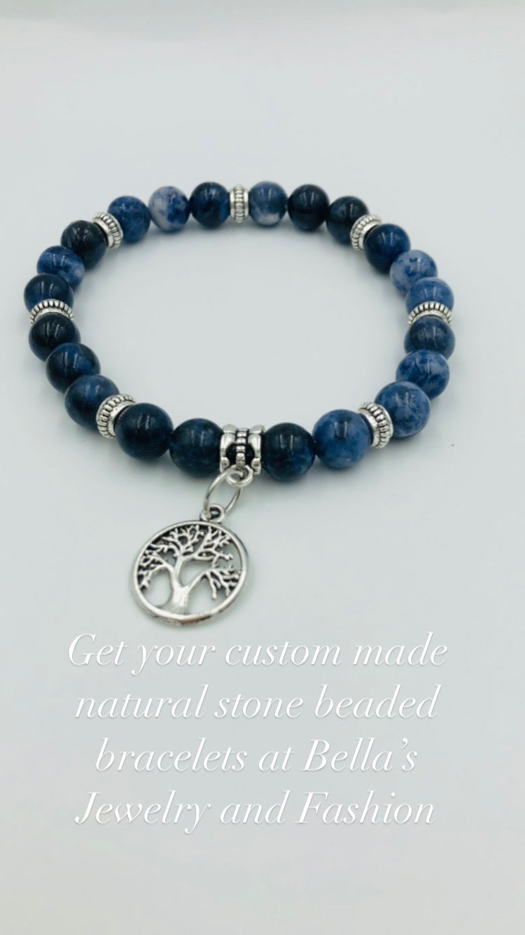 Blue Natural Crystal Gemstone Bracelet
