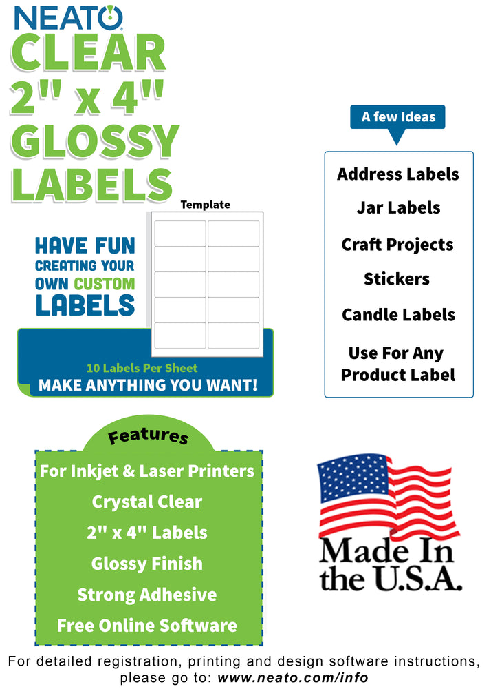 "BLANK CRYSTAL CLEAR LABELS - 2"" X 4"" - WORKS WITH INKJET & LASER PRINTERS"