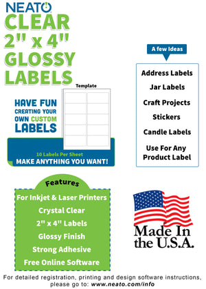 "Load image into Gallery viewer, BLANK CRYSTAL CLEAR LABELS - 2"" X 4"" - WORKS WITH INKJET & LASER PRINTERS - Neato Labels"