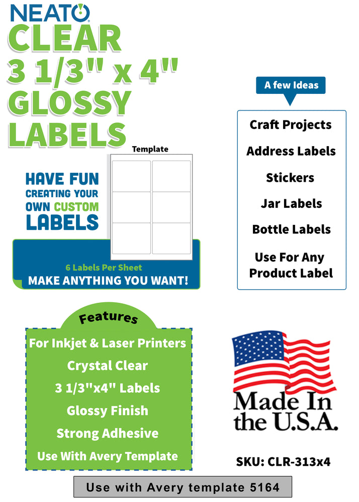 "BLANK CRYSTAL CLEAR LABELS - 3 1/3"" X 4"" - WORKS WITH INKJET & LASER PRINTERS"