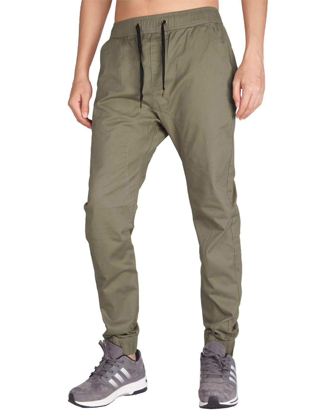 Man Drop Crotch Jogger Pants Grey Green - italymorn
