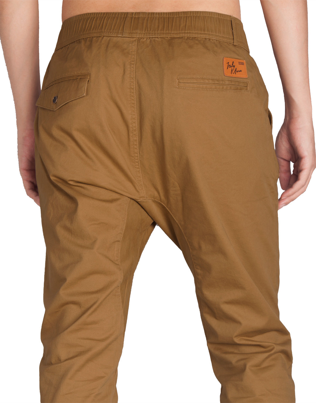 Man Drop Crotch Jogger Pants Brown - italymorn