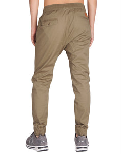 Man Drop Crotch Jogger Pants Timber Khaki - italymorn