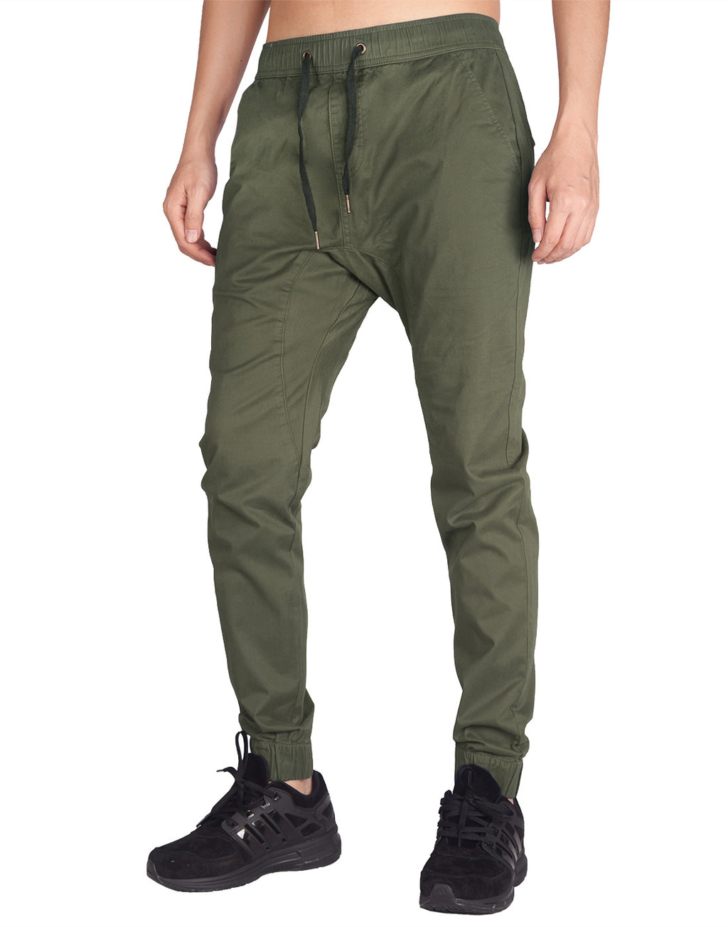Man Drop Crotch Jogger Pants Army Green - italymorn