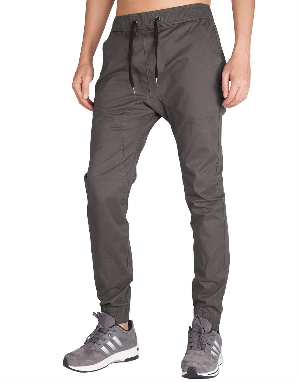 Man Drop Crotch Jogger Pants Dark Grey - italymorn