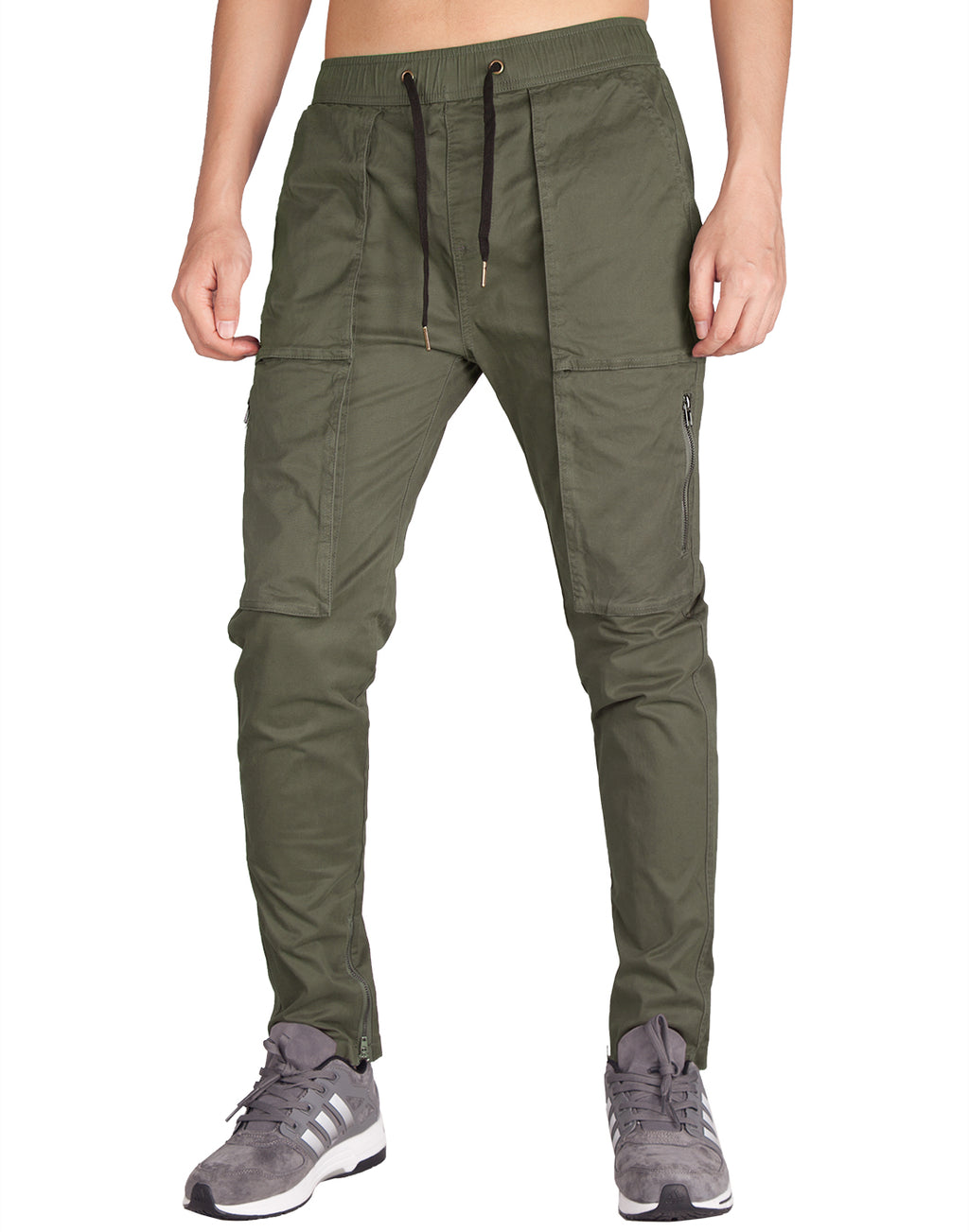 Man Designer Cargo Pants Dark Grey Green - italymorn