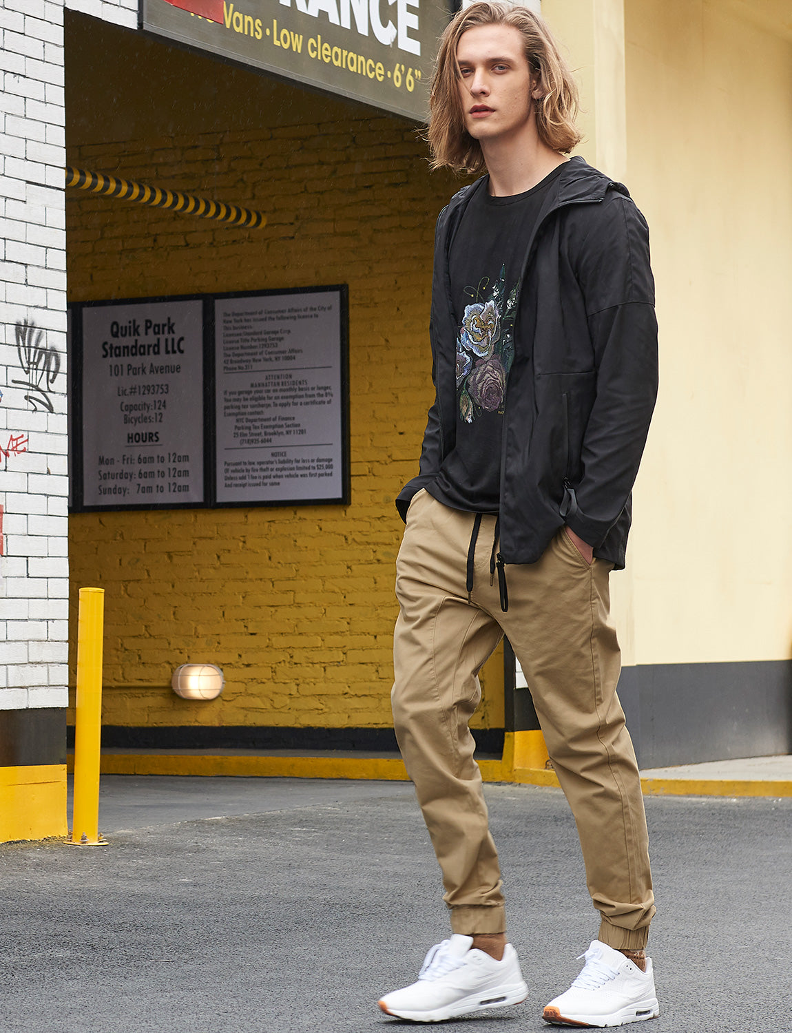 Man Drop Crotch Jogger Pants Dark Khaki - italymorn