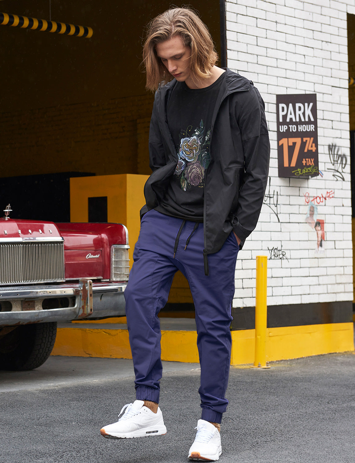 Man Drop Crotch Jogger Pants Navy Blue - italymorn