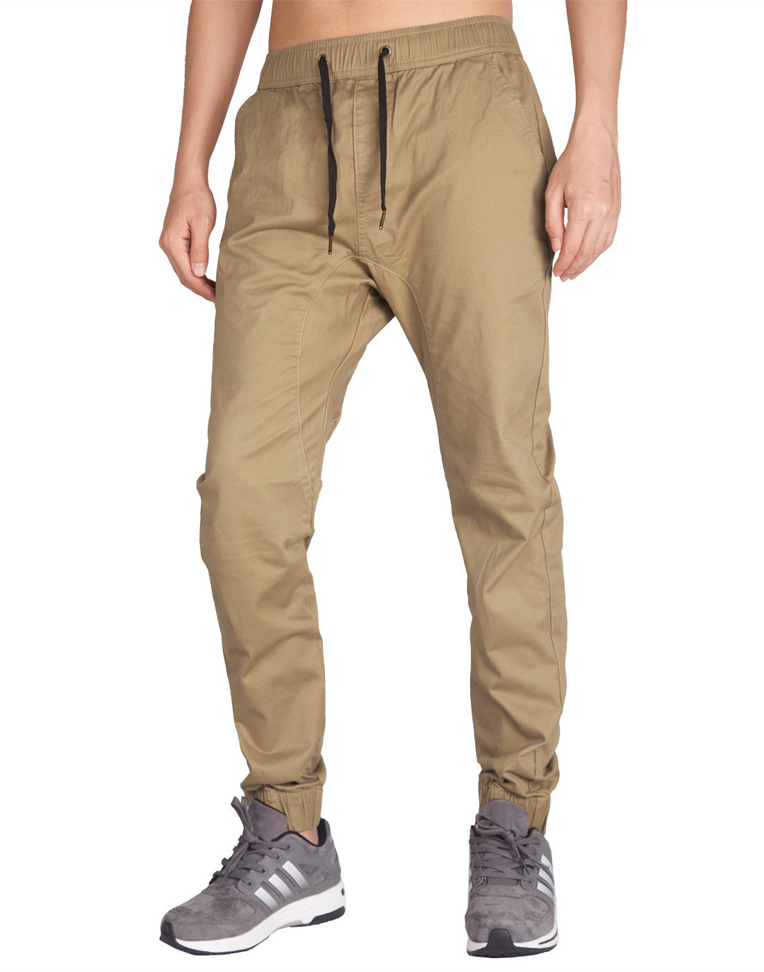 Man Drop Crotch Jogger Pants Khaki - italymorn