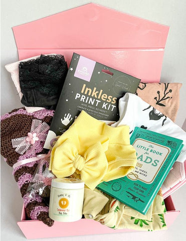 baby and sunshine subscription boxes are packed full of baby essentials, mommy essentials, adorable handmade items, and so many more wonderful things for new baby.