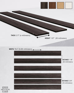 Wide Wenge Wooden Wall Slats (Black)