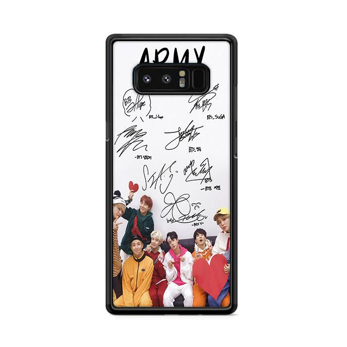 Army BTS Signature Samsung Galaxy Note 8 HÜLLE