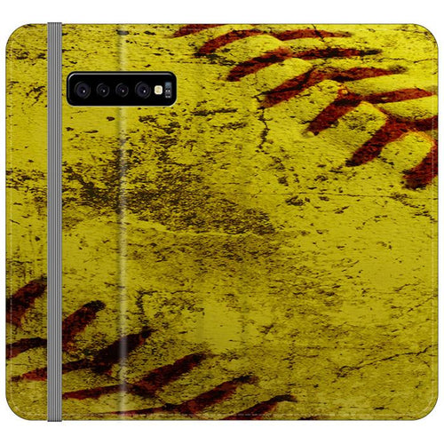 Yellow Softball Baseball Samsung Galaxy S10 Plus Flip HÜLLE