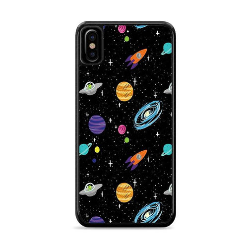 Space Cartoon Aliens Rocket Ships Planets Galaxy iPhone XS Max HÜLLE