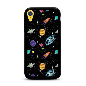 Space Cartoon Aliens Rocket Ships Planets Galaxy iPhone XR HÜLLE