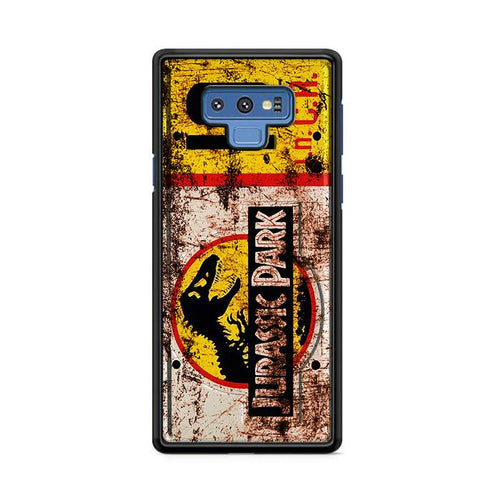 Jurassic Park License Plate Jeep 10 Samsung Galaxy Note 9 HÜLLE