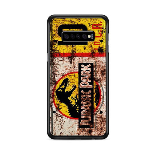 Jurassic Park License Plate Jeep 10 Samsung Galaxy S10 Plus HÜLLE