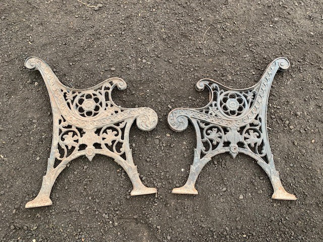 Vintage cast iron bench ends