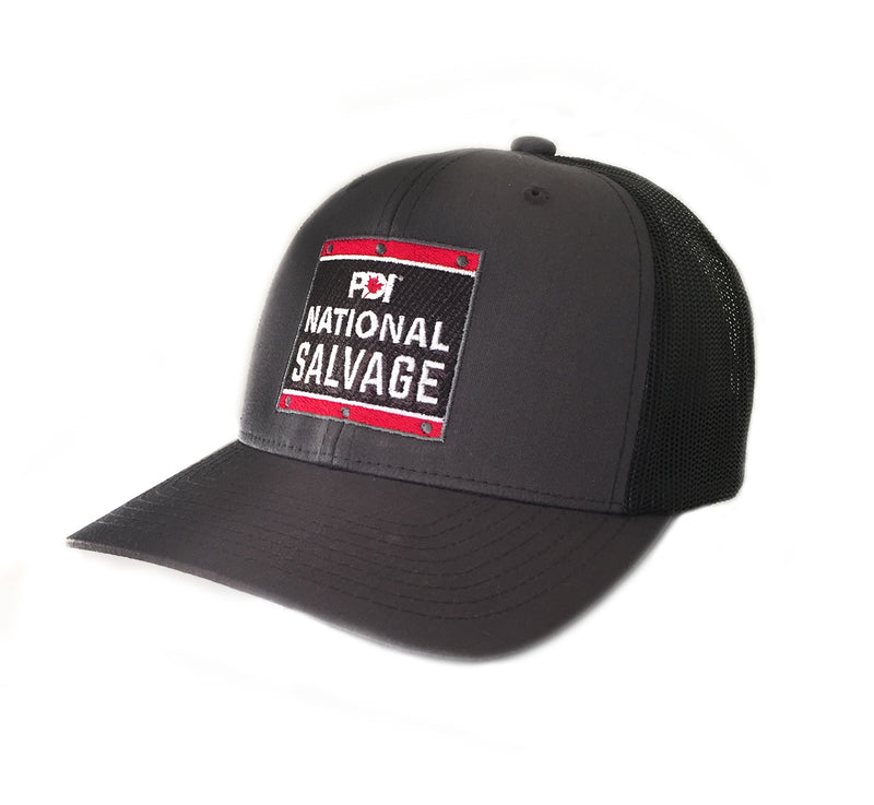PDI National Salvage CHARCOAL/BLACK retro trucker hat