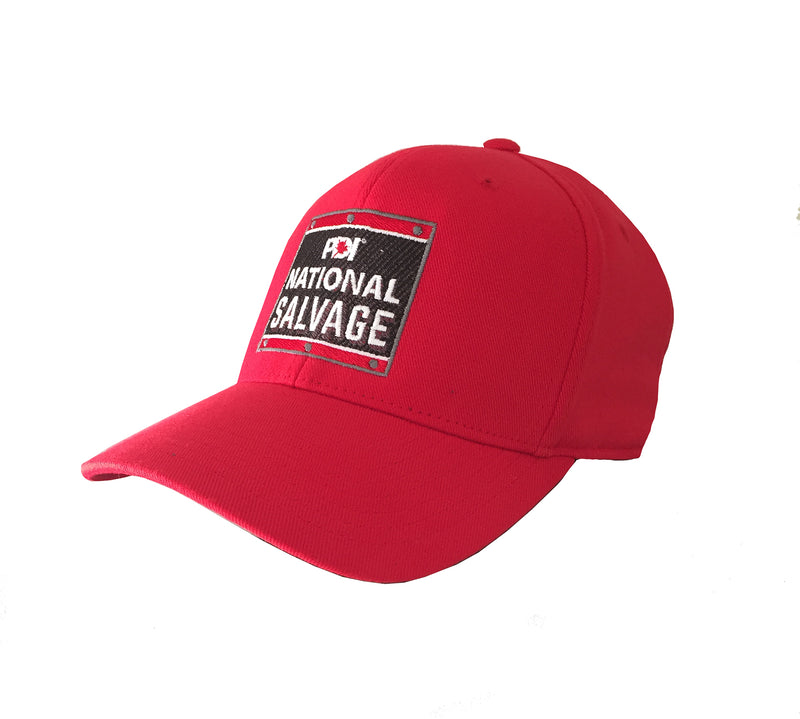 PDI National Salvage RED full back hat with embroidered logo