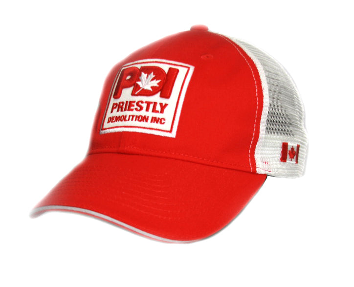 Priestly Demolition Inc. RED Hat with embroidered logo and Canada flag