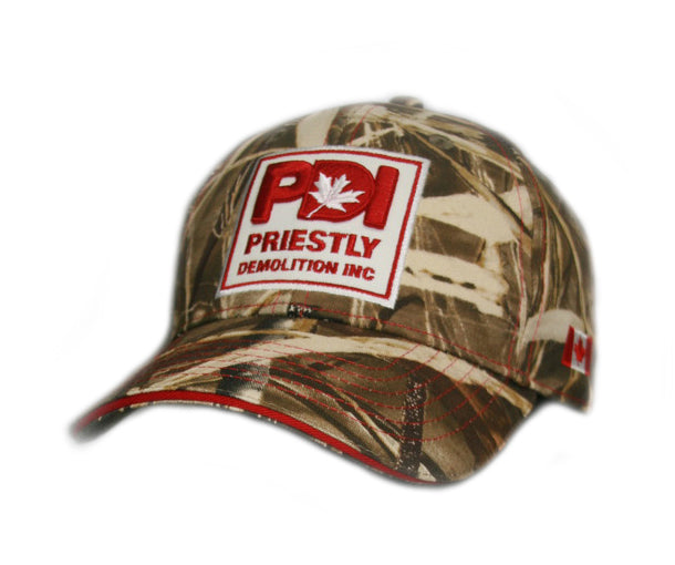 Priestly Demolition Inc. CAMO, full-back hat with embroidered logo and Canada flag